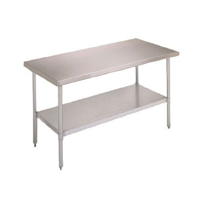 "John Boos FBLG6018 60"" 18-ga Work Table w/ Undershelf & 430-Series Stainless Flat Top"