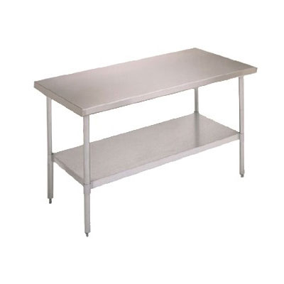 "John Boos FBLG7218 72"" 18-ga Work Table w/ Undershelf & 430-Series Stainless Flat Top"