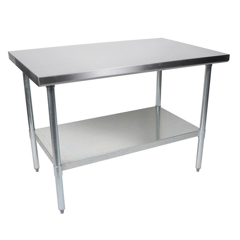 "John Boos FBLG8430 84"" 18-ga Work Table w/ Undershelf & 430-Series Stainless Flat Top"