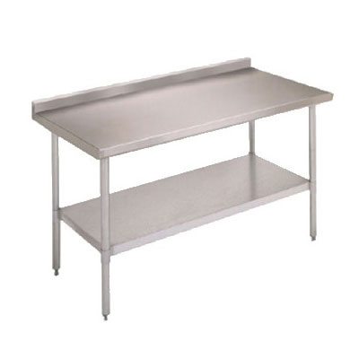 "John Boos FBLGR5-6024 60"" 18-ga Work Table w/ Undershelf & 430-Series Stainless Top, 5"" Backsplash"