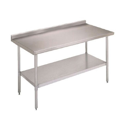 "John Boos FBLGR5-3024 30"" 18-ga Work Table w/ Undershelf & 430-Series Stainless Top, 5"" Backsplash"