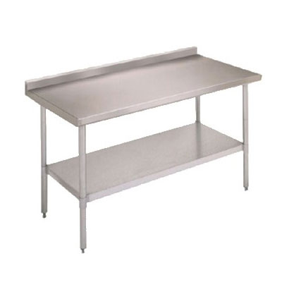 "John Boos FBLGR5-4824 48"" 18-ga Work Table w/ Undershelf & 430-Series Stainless Top, 5"" Backsplash"