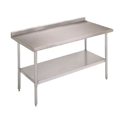 "John Boos FBLGR5-4830 48"" 18-ga Work Table w/ Undershelf & 430-Series Stainless Top, 5"" Backsplash"