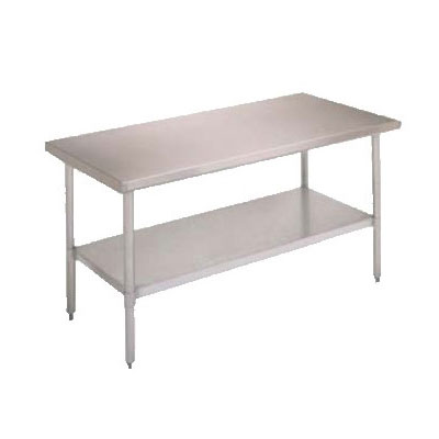 "John Boos FBLS2418 Work Table - Adjustable Undershelf, 24x18"", 18-ga Stainless"