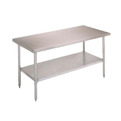 John Boos FBLS7230 Flat Top Work Table w/ Stainless Legs & Adjustable Undershelf, 72 x 30-in