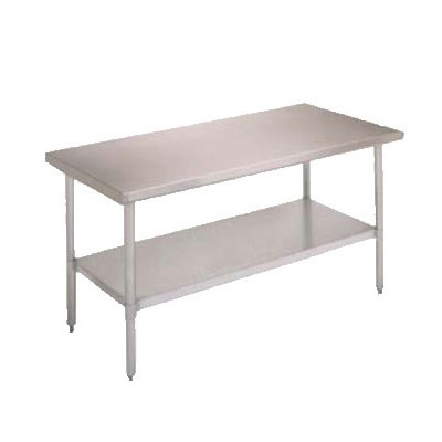 "John Boos FBLS3018 30"" 18-ga Work Table w/ Undershelf & 430-Series Stainless Flat Top"
