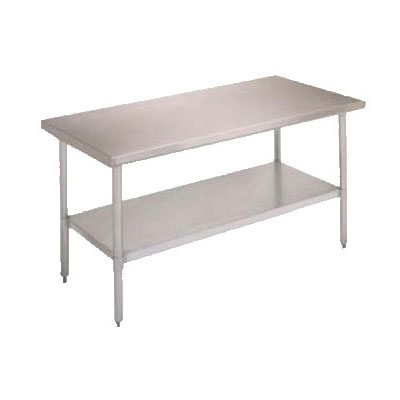 "John Boos FBLS9624 96"" 18-ga Work Table w/ Undershelf & 430-Series Stainless Flat Top"