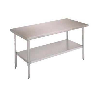 "John Boos FBLS9630 96"" 18-ga Work Table w/ Undershelf & 430-Series Stainless Flat Top"