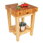 "John Boos GB 4"" Maple Top Butcher Block Work Table w/ Undershelf - 24""L x 24""D"