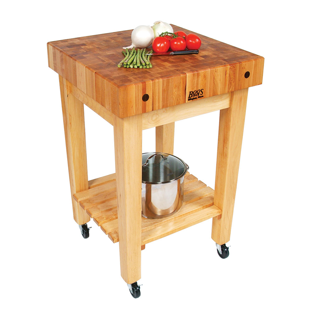 "John Boos GB-C 4"" Maple Top Butcher Block Work Table w/ Undershelf - 24""L x 24""D"