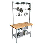 "John Boos GRA08C Cucina Grandioso Work Table, Stainless Shelf, Drawer, Pot Rack, 48 x 30 x 84""H"