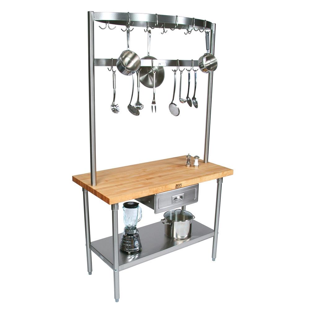 "John Boos GRA08C Cucina Grandioso Work Table, Stainless Shelf, Drawer, Pot Rack, 48 x 30 x 84""H"