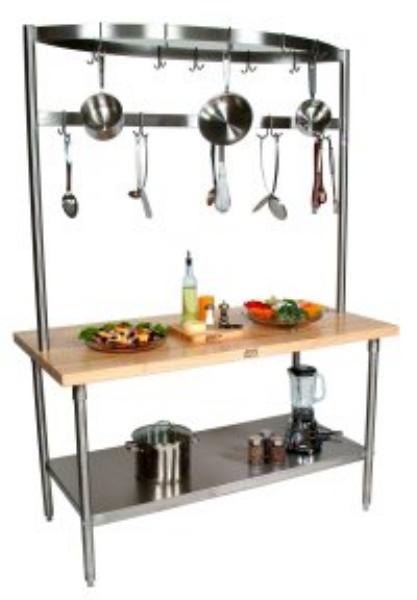 John Boos GRA10C Cucina Grandioso Work Table, S/S Shelf, Drawer, Pot Rack, 72 x 30 x 84 in H