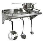 "John Boos GRWS36UB Cucina Mensola Grande, Wall Shelf with Pot Rack & Galley Rail, Stainless, 36""L"