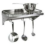 "John Boos GRWS48UB Cucina Mensola Grande, Wall Shelf with Pot Rack & Galley Rail, Stainless, 48""L"