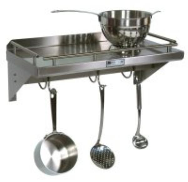 John Boos GRWS48UB Cucina Mensola Grande, Wall Shelf with Pot Rack & Galley Rail, SS, 48 in L