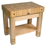 John Boos HMST36245 MPL Homestead Block w/ Slatted Lower Shelf & Utensil Drawer, Maple Base