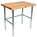 "John Boos HNB12 1.75"" Maple Top Work Table w/ Open Base, 120""L x 30""D"