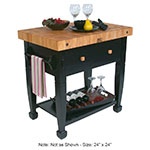 "John Boos JASMN24243-D-S BK Jasmine Hard Maple Table, 24 x 24"", Black"