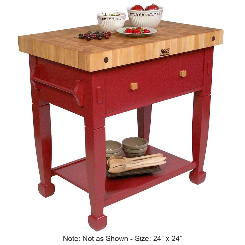"John Boos JASMN24243-D-S BN Jasmine Hard Maple Table, 24 x 24"", Barn Red"