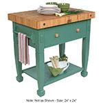 "John Boos JASMN24243-D-S BS Jasmine Hard Maple Table, 24 x 24"", Basil Green"