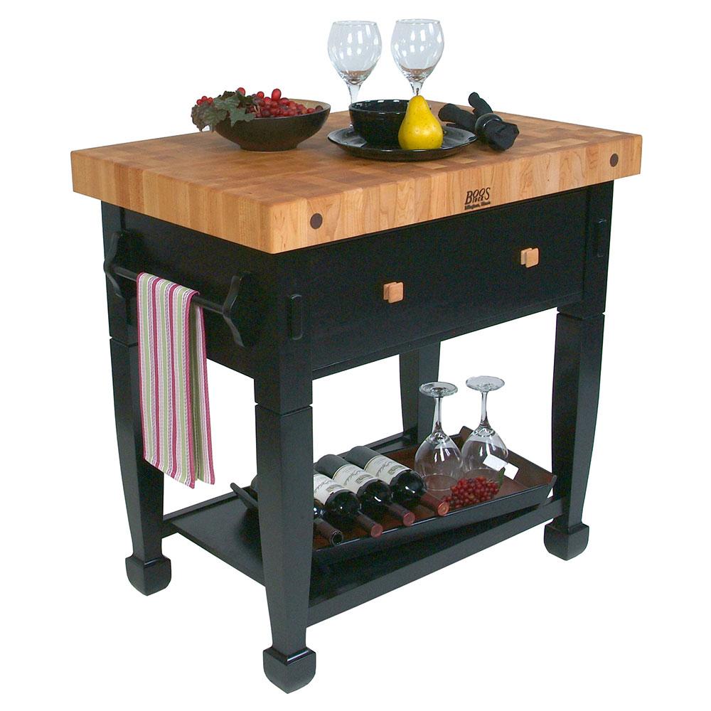 """John Boos JASMN36243-D-S BK Jasmine Hard Maple Table, 36 x 24"""", Black"""