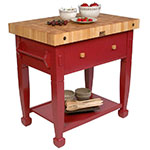 "John Boos JASMN36243-D-S BN Jasmine Hard Maple Table, 36 x 24"", Barn Red"