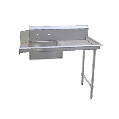 "John Boos JDTS-20-48R 48"" Soiled Dishtable w/ 20 x 20 x 8"" Bowl & 16-ga Stainless Legs, R to L"