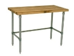 John Boos JNB03 Hard Rock Maple Work Table, Galvanized Legs, 24 x 60 x 36-in H