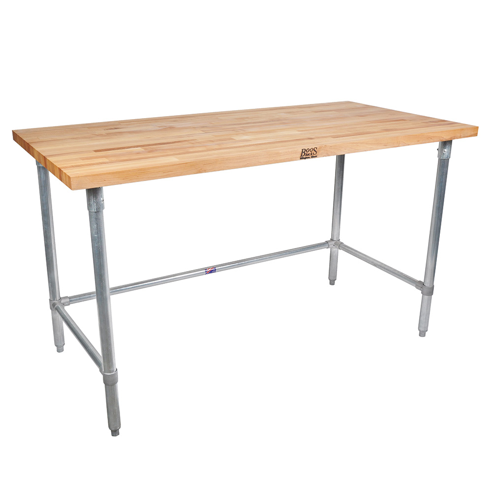 "John Boos JNB11 1.5"" Maple Top Work Table w/ Open Base, 96""L x 30""D"