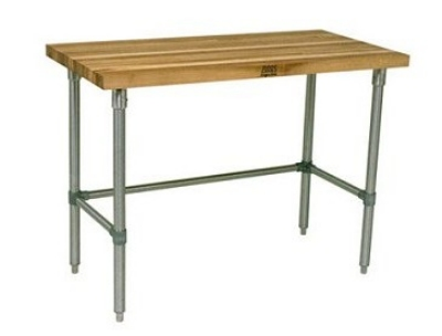 "John Boos JNB02 Hard Rock Maple Work Table, Galvanized Legs, 24 x 48 x 36"" H"