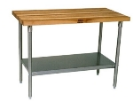 "John Boos JNS02 Hard Rock Maple Work Table, Galvanized Shelf,  24 x 48 x 36"" H"