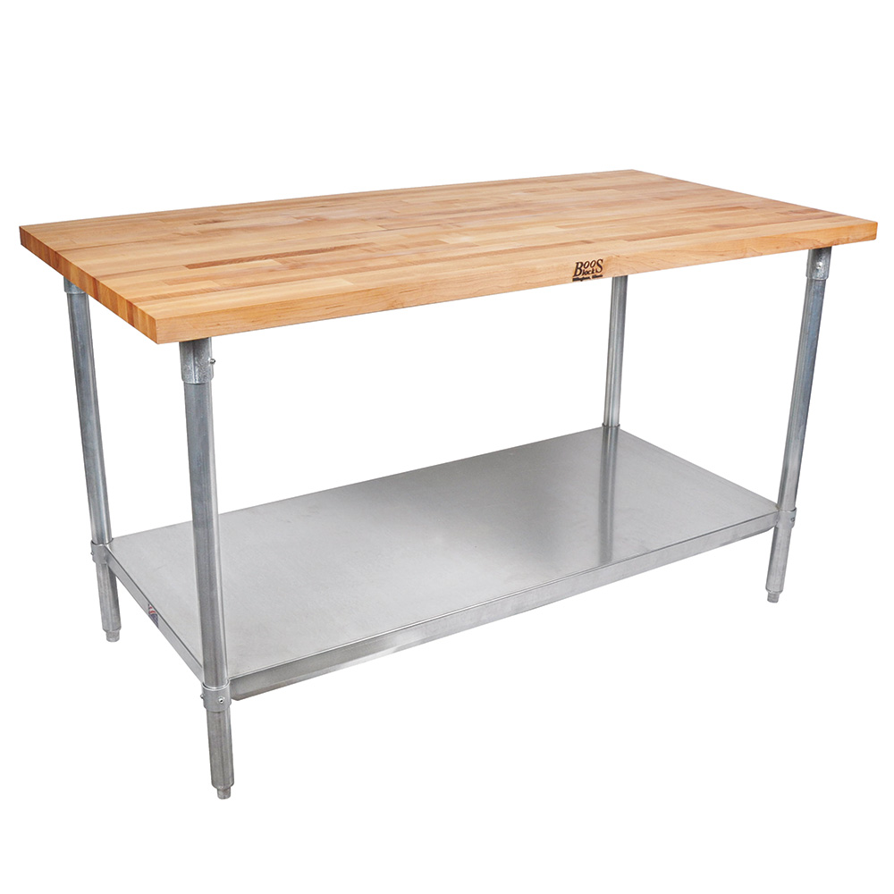 "John Boos JNS13 Work Table - 1-1/2"" Maple Top, Fixed Undershelf, 96x30"", Galvanized Legs"