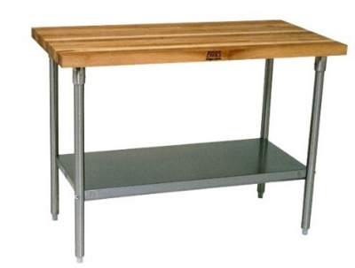 John Boos JNS04 Hard Rock Maple Work Table, Galvanized Shelf,  24 x 72 x 36-in H
