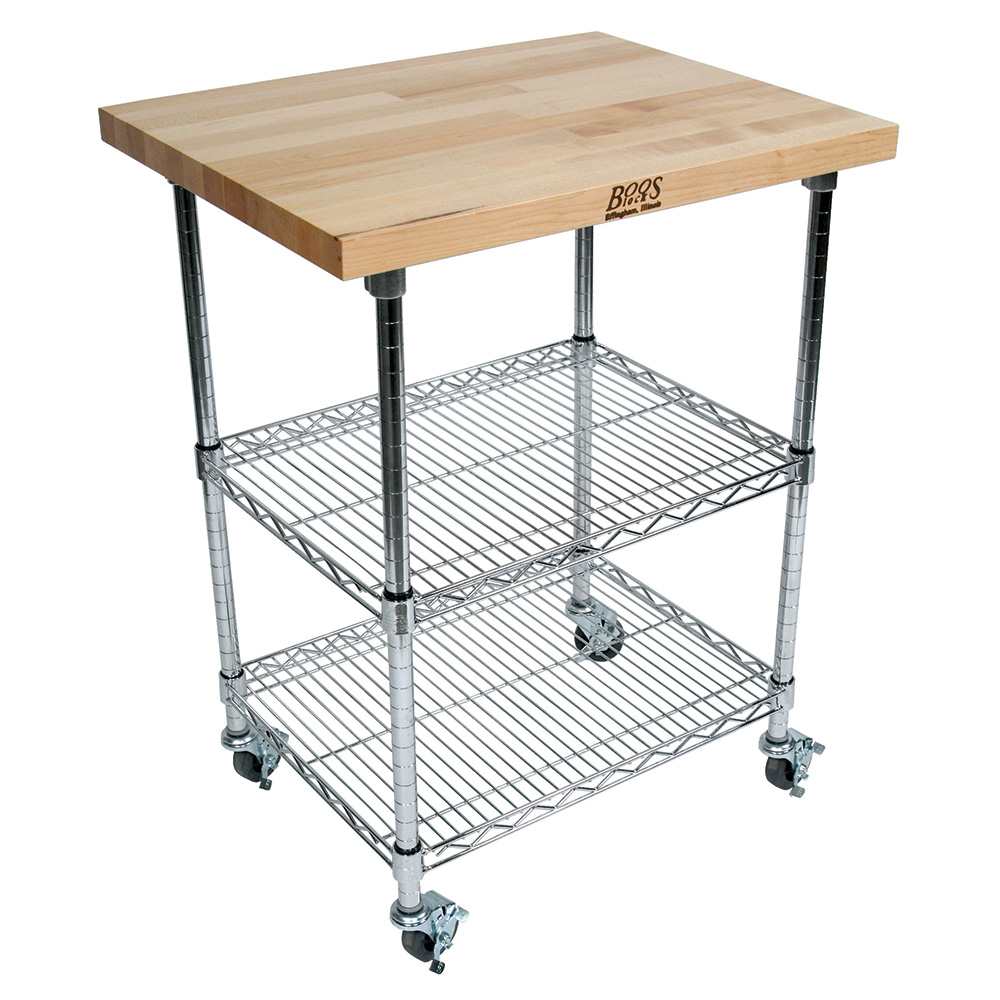 "John Boos MET-MWC-2 Mobile Cart - Maple Top, Adjustable Shelves, 21x33x36"", Chrome"