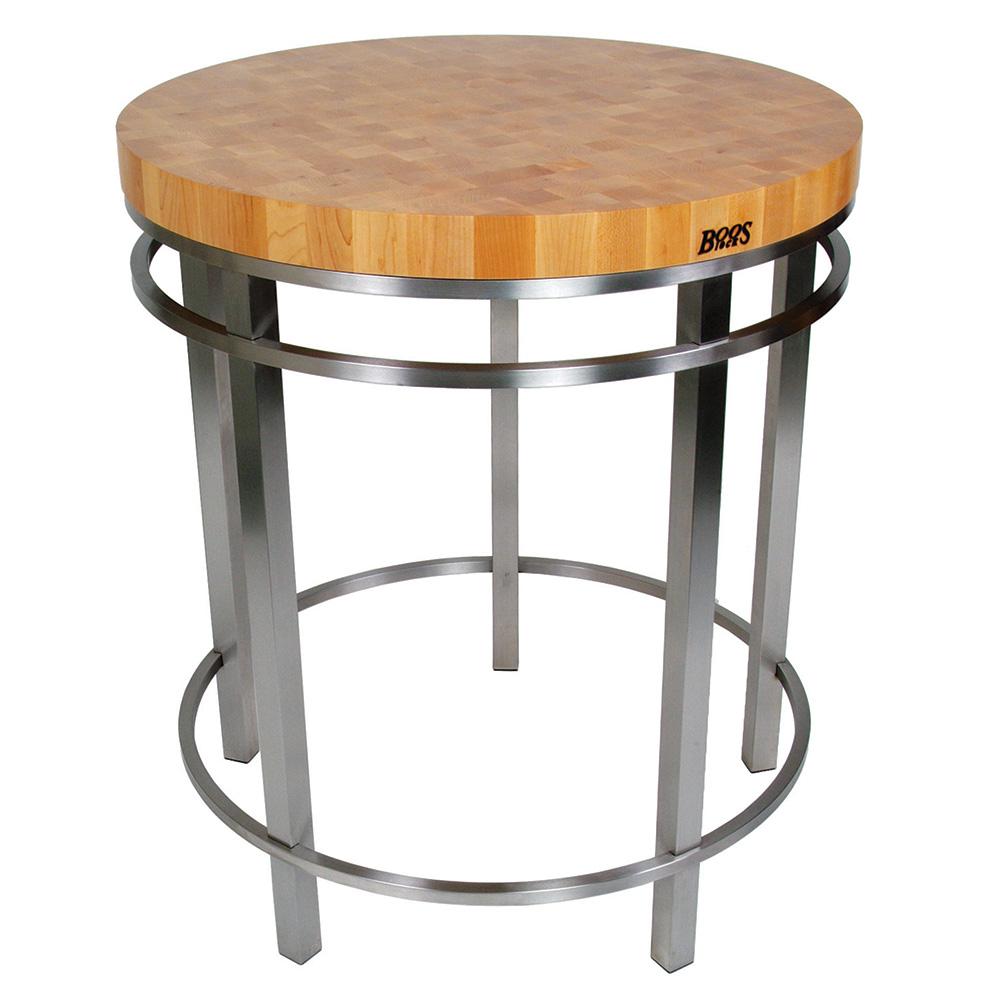 "John Boos MET-OA32 Metropolitan Oasis Kitchen Island Table, 32"" Dia. x 36 H, 2-1/4 in, Maple Top"