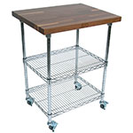 "John Boos MET-WWC-2 Mobile Cart - Walnut Top, Adjustable Shelves, 21x33x36"", Chrome"