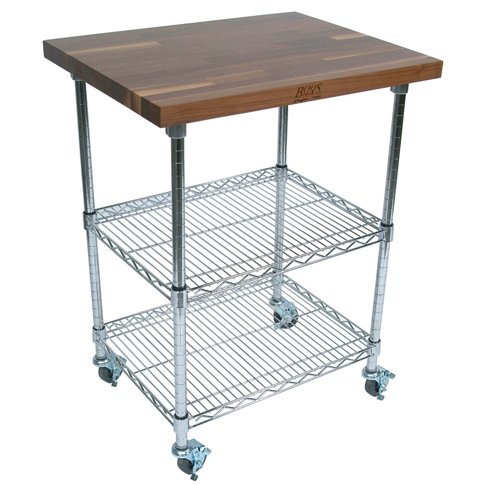 "John Boos MET-WWCK-2 Mobile Cart - Walnut Top, Adjustable Shelves, 21x33x36"", Black"