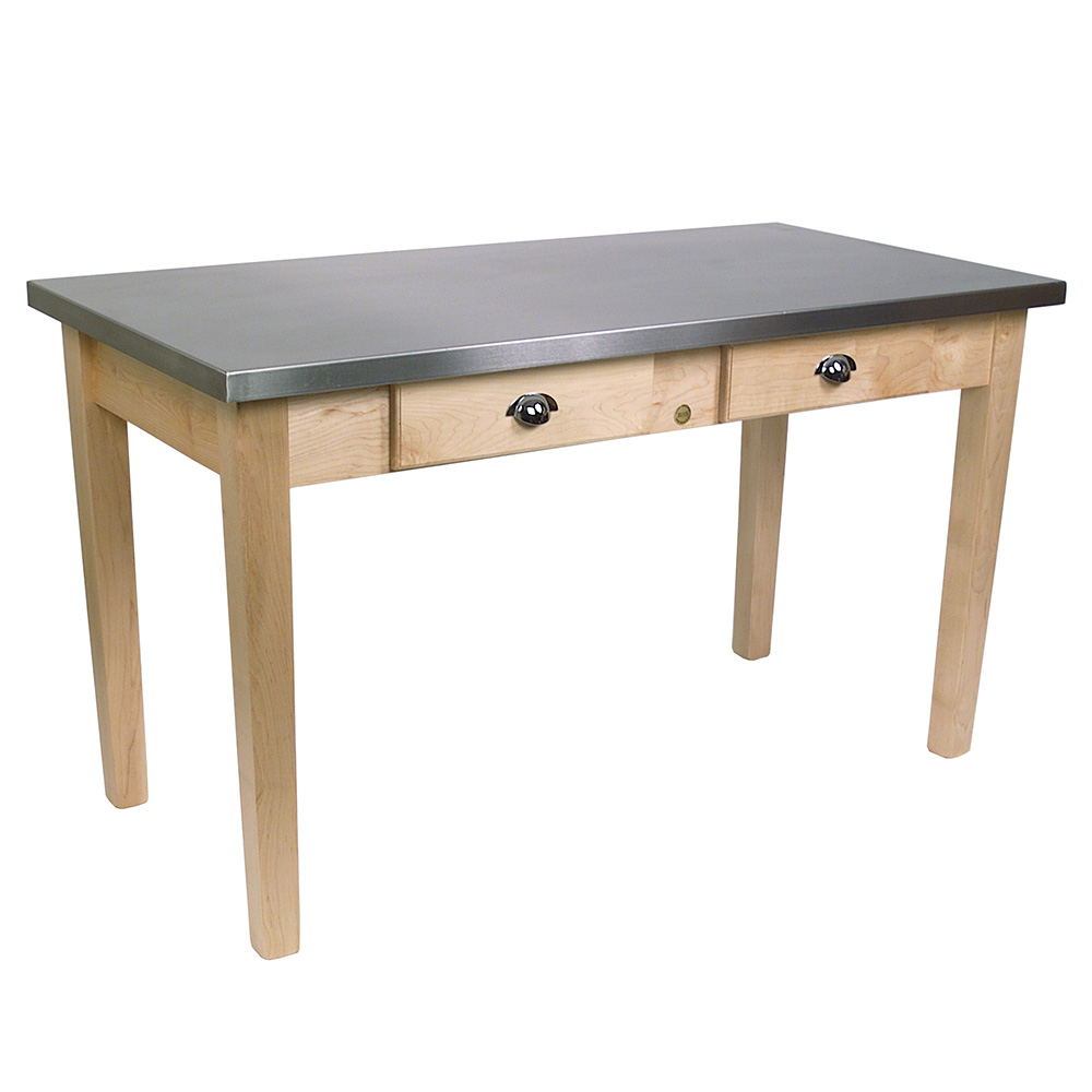 """John Boos MIL6030D Cucina Milano Work Table, 1-1/2"""" Thick, Stainless Top, Maple Base, 30 x 60 x 30""""H"""