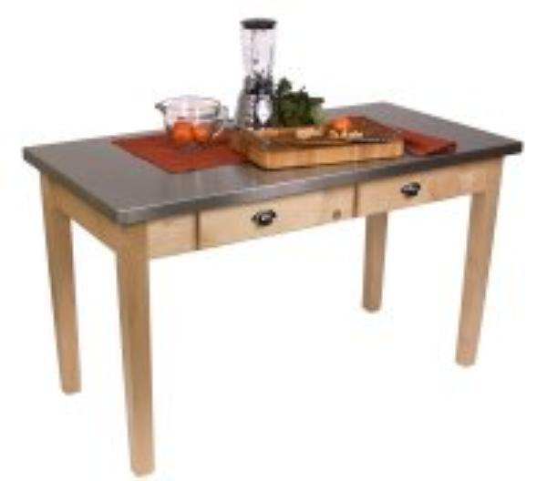 John Boos MIL6036D Cucina Milano Work Table, 1-1/2 in Thick, S/S Top, Maple Base, 36 x 60 x 30 in H