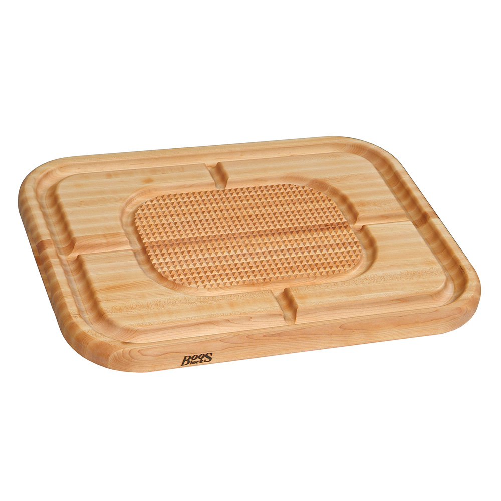 John Boos MN2418150-SM Carving Collection Board w/ Grooves, Grips & Pan, 18x24x2.25-in, MN Maple