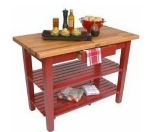 John Boos OC6025 2S BN American Heritage Oak C Table, 2-Shelves, 60 x 35-in H, Barn Red