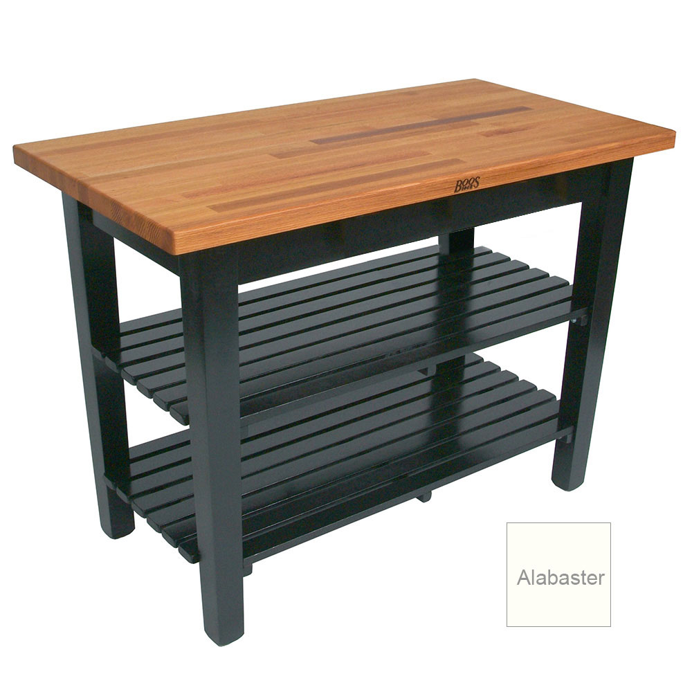 "John Boos OC3625 2S AL American Heritage Oak C Table, 2-Shelves, 36 x 35"" H, Alabaster"
