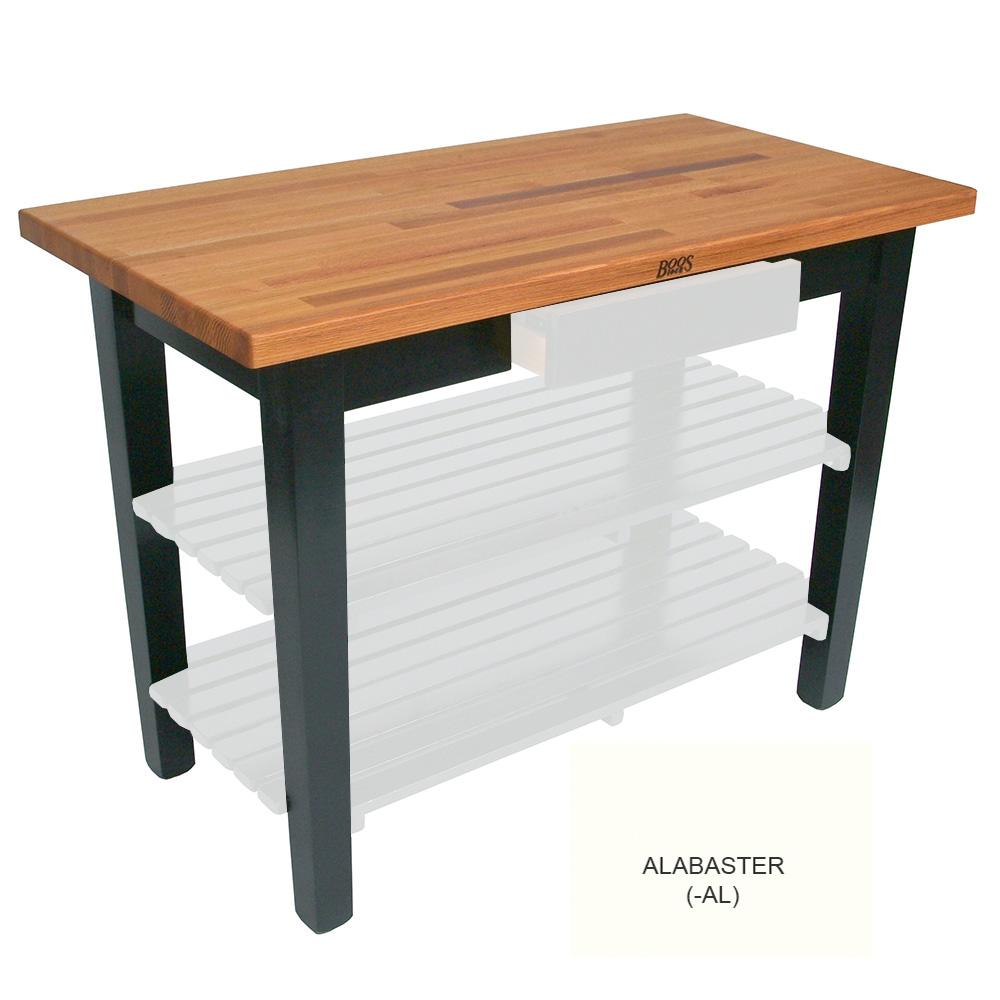 "John Boos OC4825 AL American Heritage Oak C Table, 48 x 25 x 35"" H, Alabaster"