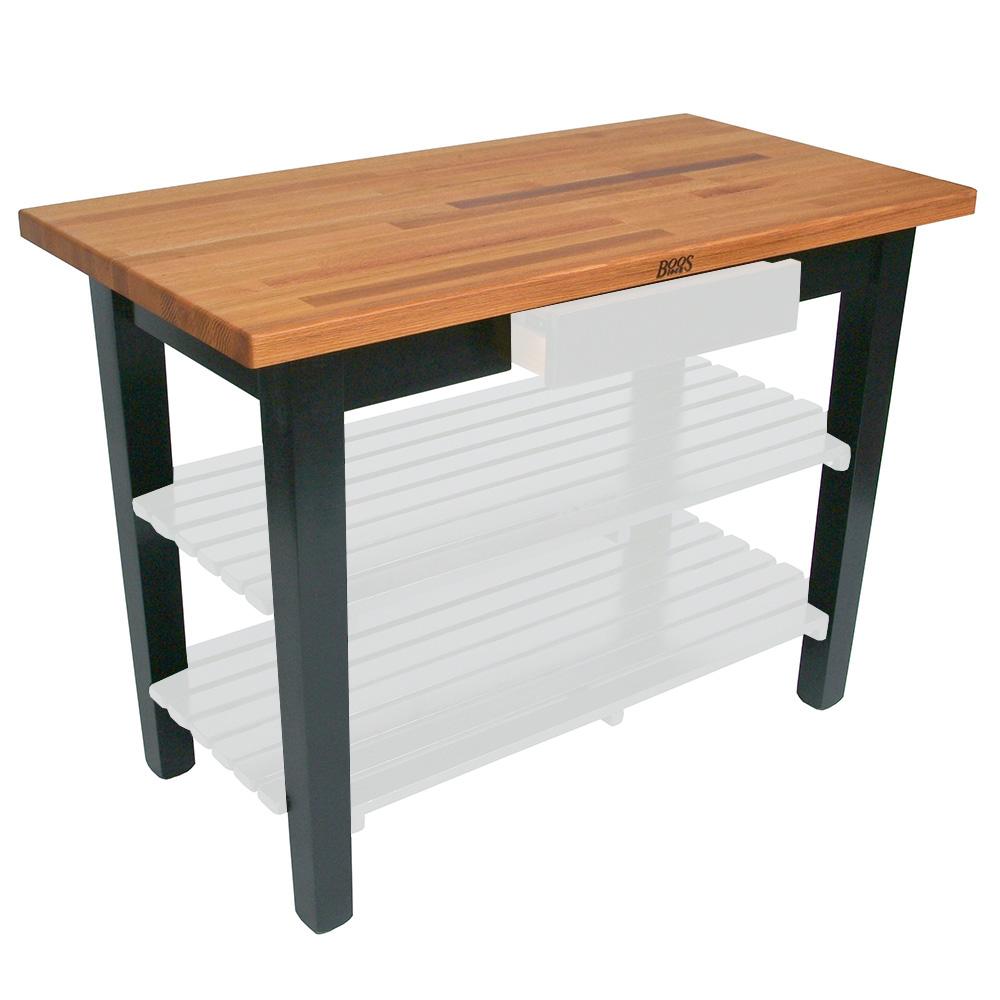 "John Boos OC4825 BK American Heritage Oak C Table, 48 x 25 x 35"" H, Black"