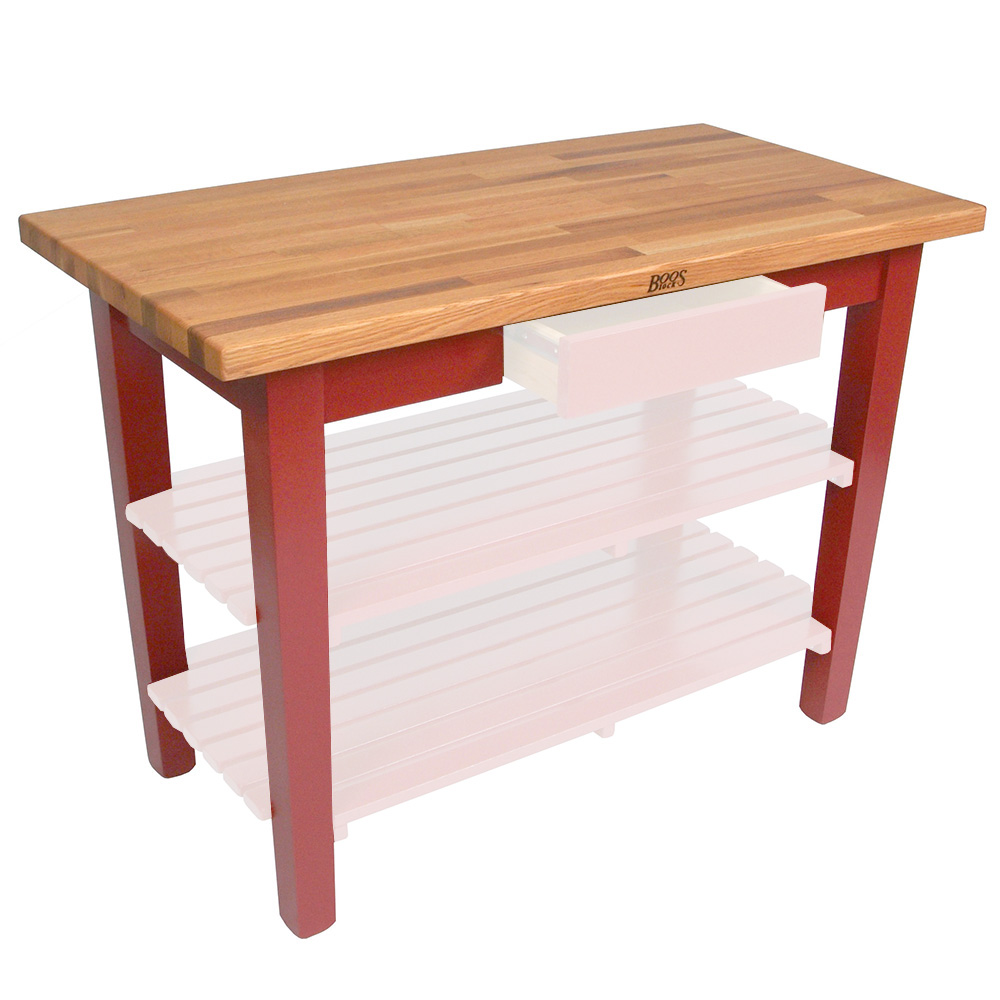 "John Boos OC4825 BN American Heritage Oak C Table, 48 x 25 x 35"" H, Barn Red"