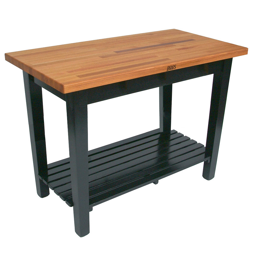 "John Boos OC4825 S BK American Heritage Oak C Table, 1-Shelf, 48 x 25 x 35"" H, Black"