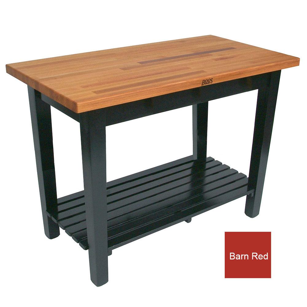 "John Boos OC4825 S BN American Heritage Oak C Table, 1-Shelf, 48 x 25 x 35"" H, Barn Red"