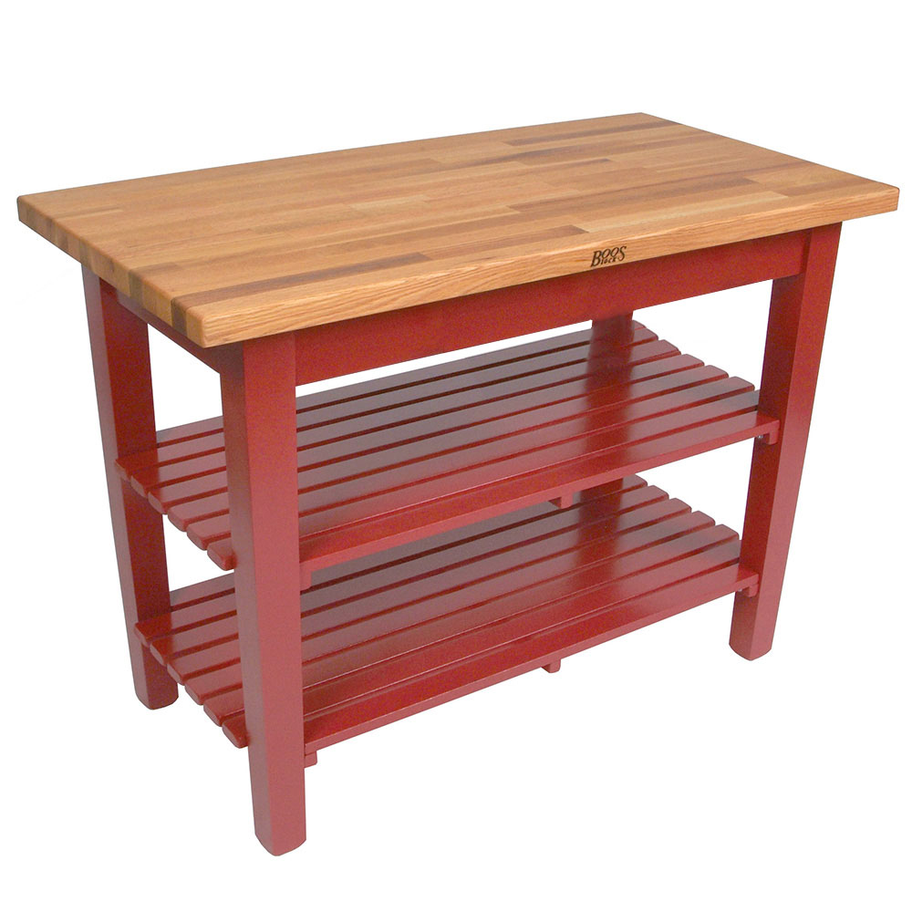 "John Boos OC6025 2S BN American Heritage Oak C Table, 2-Shelves, 60 x 35"" H, Barn Red"