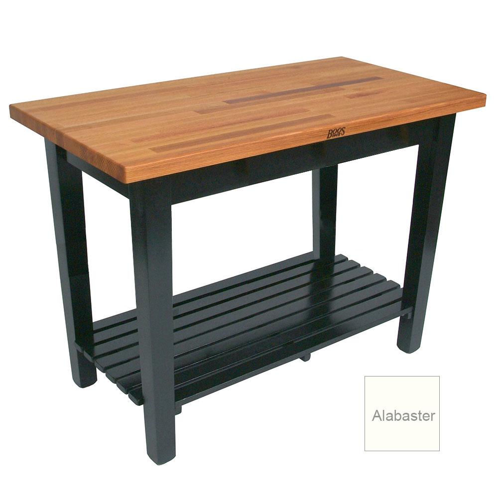 "John Boos OC6025 S AL American Heritage Oak C Table, 1-Shelf, 60 x 25 x 35"" H, Alabaster"